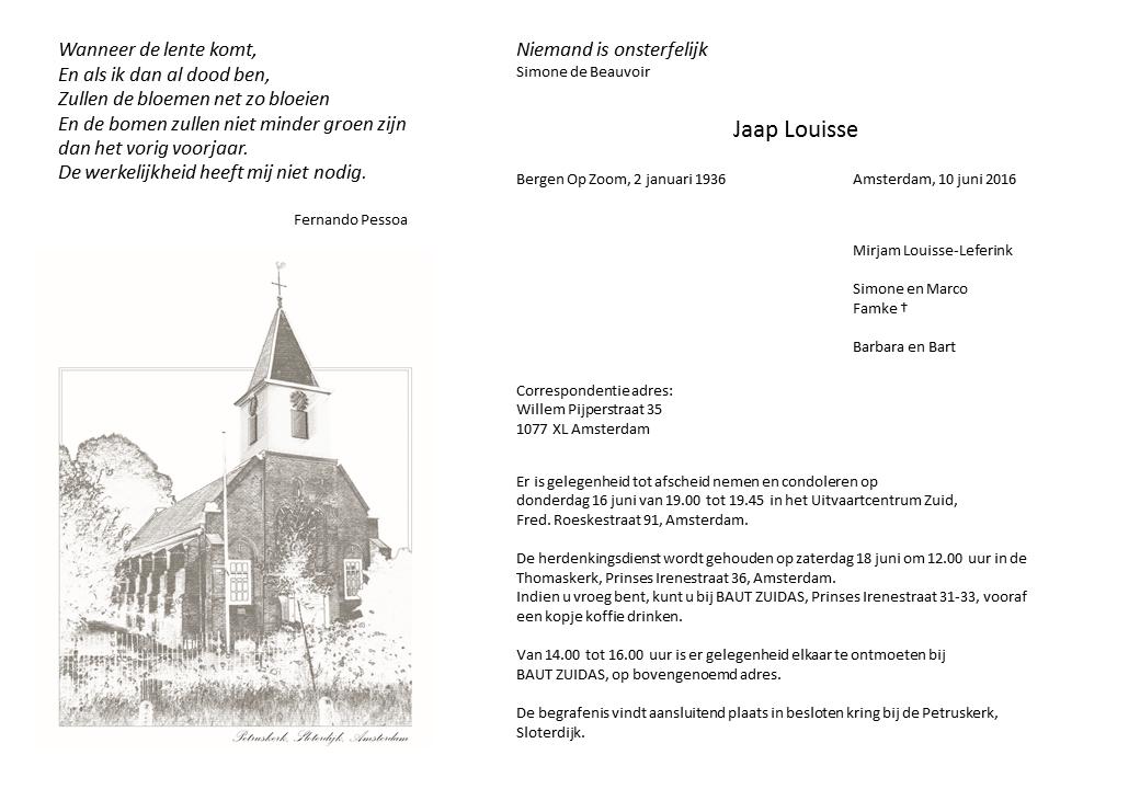 Rouwkaart Jaap Louisse - digitaal